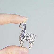 Twill & Print Little Black Glitter Alpaca Enamel Pin