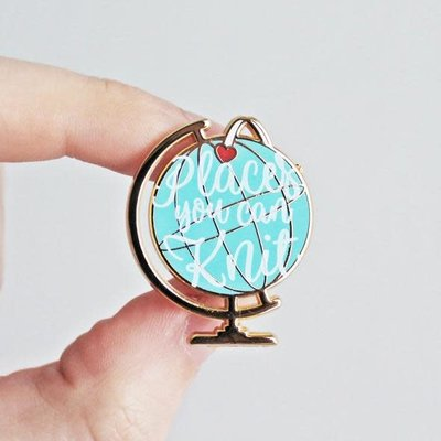 Twill & Print Places You Can Knit Enamel Pin