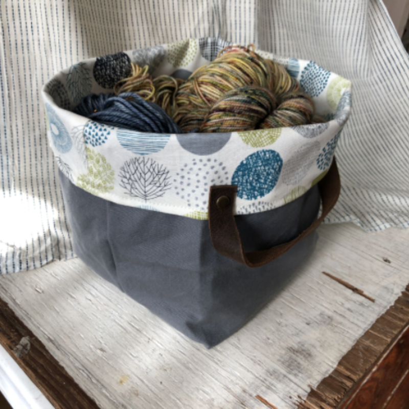 Mathilde Bin Tote - Grey + Blue