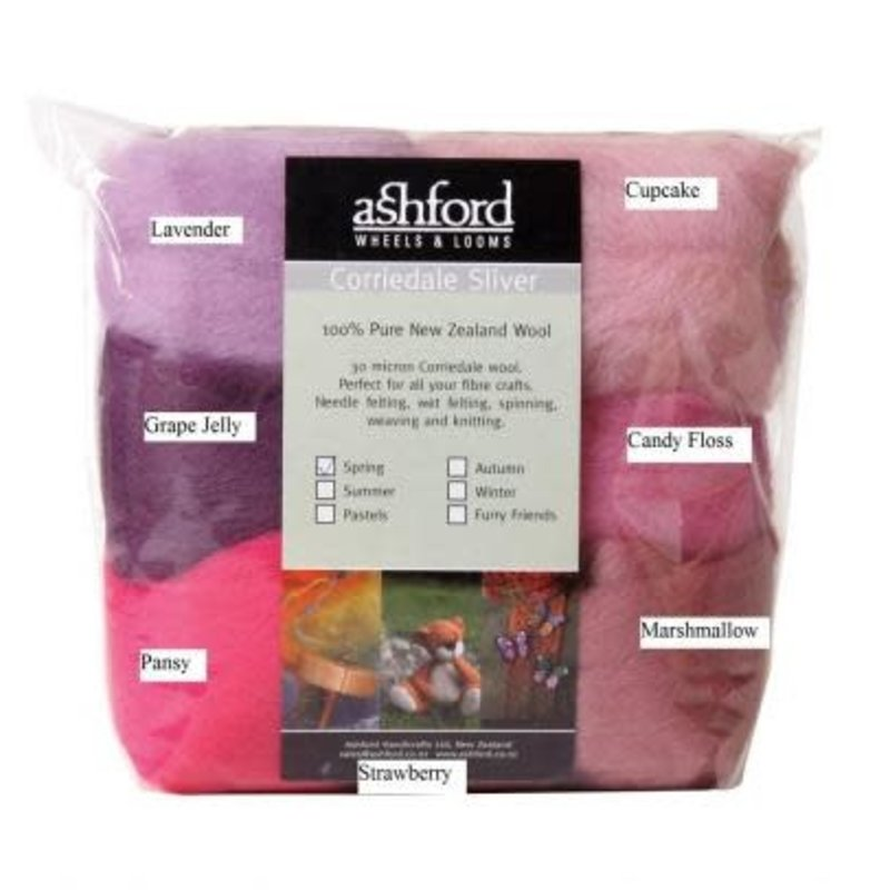 Ashford Corriedale Sliver Packs - 100g (7 colours/pk)