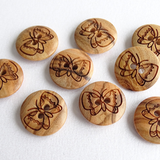 Seco Knopf Butterfly Wood Button 15mm