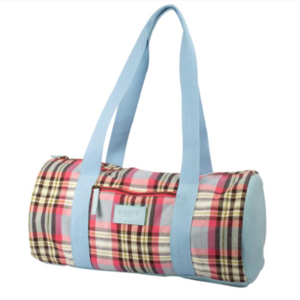 Knitting Bag Blue/Pink Plaid