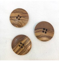 """Buttons, Etc. *Buttons - Wood, Round, 1"""", 3cm"""