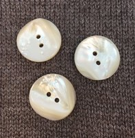 "Buttons, Etc. *Buttons - MOP, Round, White 1 1/4"", 3cm"