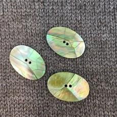 "Art of Yarn *Buttons - Abalone on Bone 1 1/4"",  3cm, long"