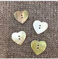 """Art of Yarn *Buttons - Heart Shaped Mother Of Pearl, 1/2"""", 1.2 Cm''"""