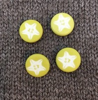 "Buttons, Etc. *Buttons - Corozo, Green Starfish, 5/8"", 1.5cm"