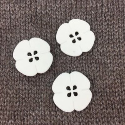 "Dill Buttons *Buttons - Polyamide Flower, White, 1"", 2.5cm"