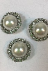 "Buttons, Etc. *Buttons - Pearl/Crystal?Silver, 11/2"", 3cm"