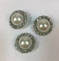 """Buttons, Etc. *Buttons - Pearl/Crystal?Silver, 11/2"""", 3cm"""