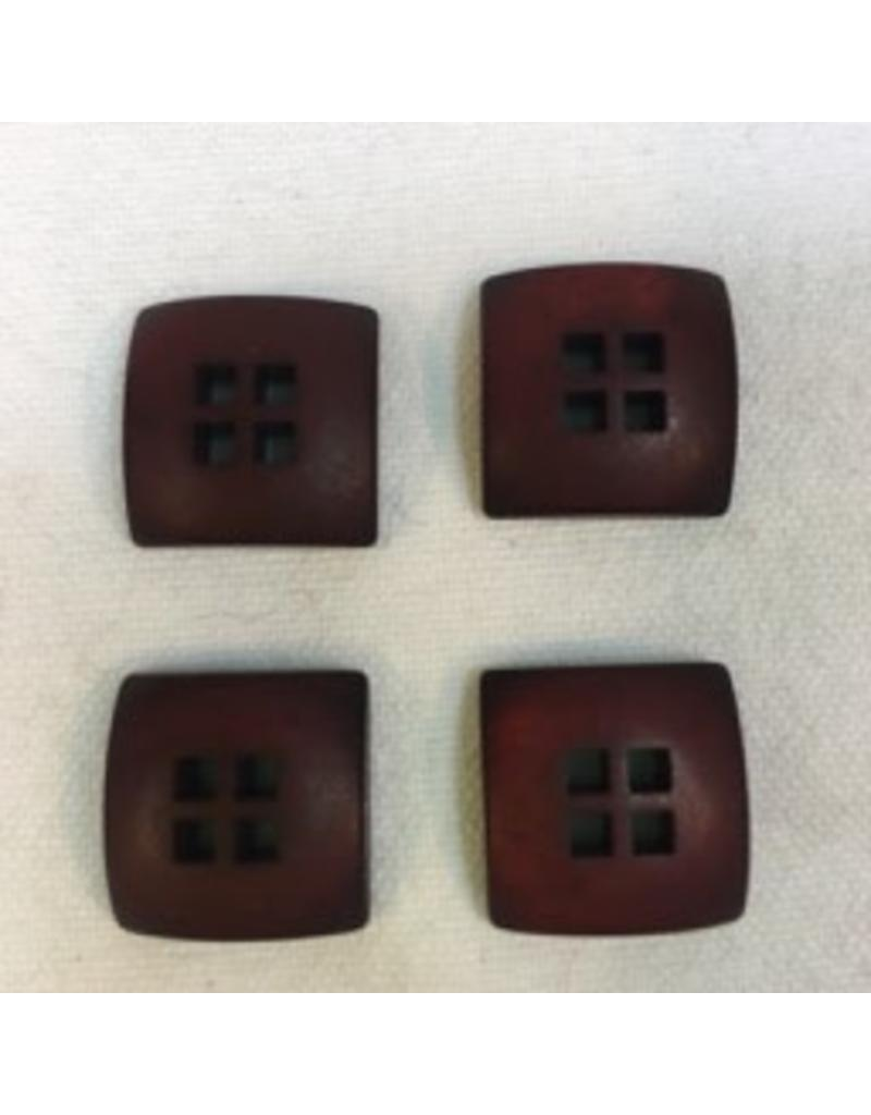 "Buttons, Etc. *Buttons - Resin, Brown, Quad, 5/8"". 1.5cm"