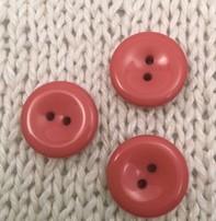 """Buttons, Etc. *Buttons - Pastille, coral, 5/8"""", 1.5cm"""