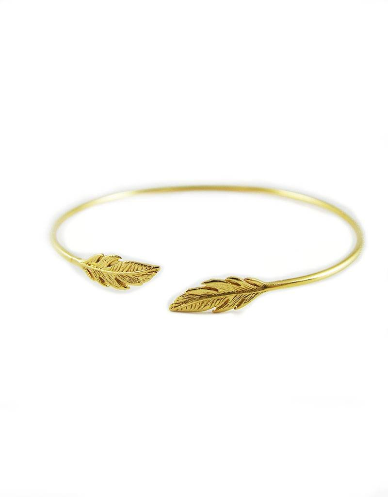 6e997048f1d00 Voguish Feathers Bangle/Cuff Sterling Silver 925 Gold Plated