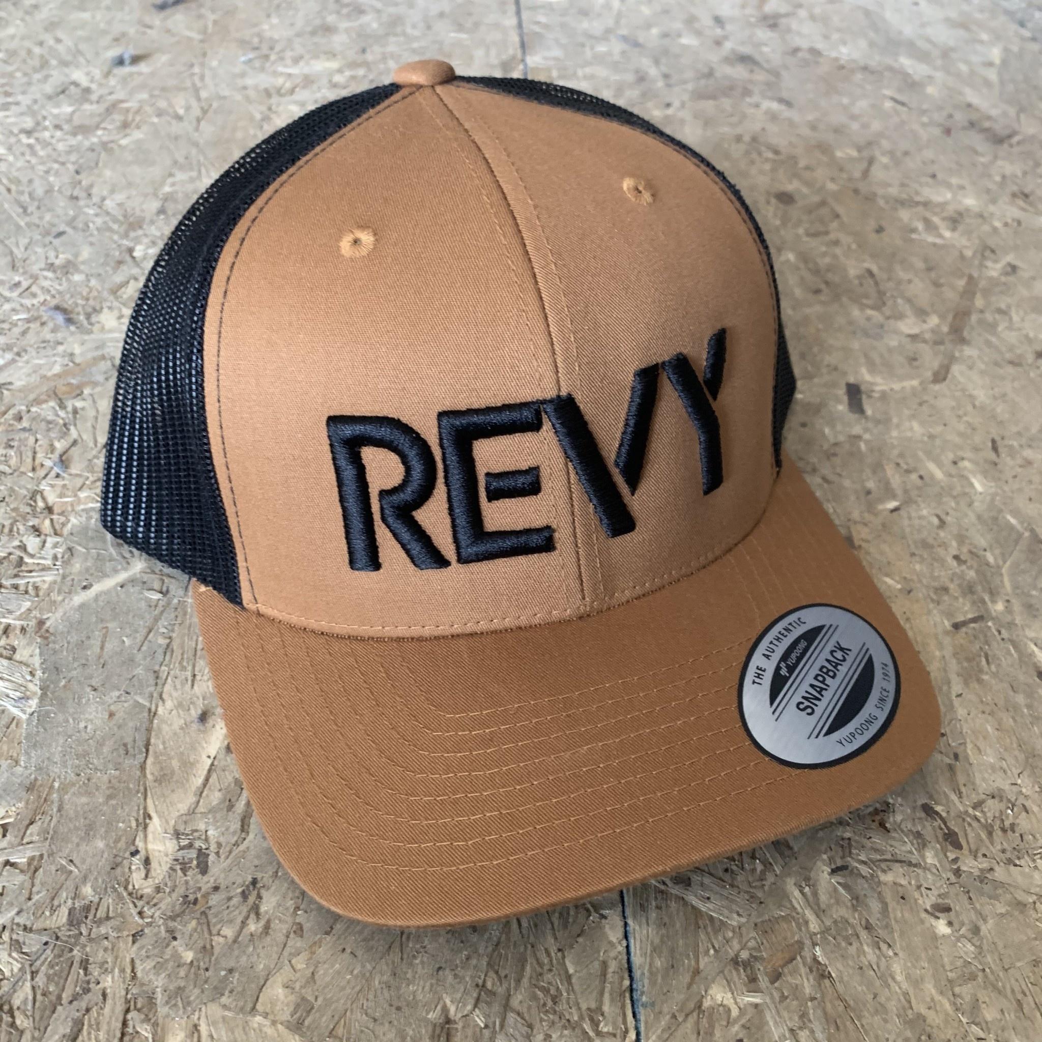 Revelstoke Trading Post Revelstoke - REVY Stamp Curv Brim Trucker - Caramel