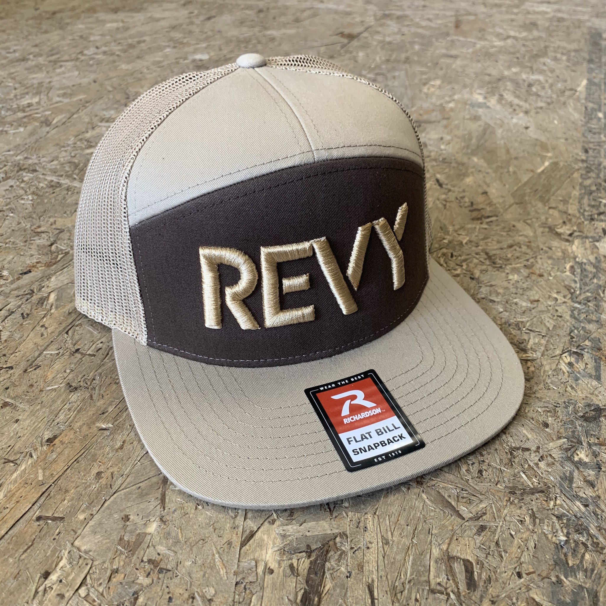 Revelstoke Trading Post Revelstoke - REVY Stamp - 7 Panel Trucker - Brown