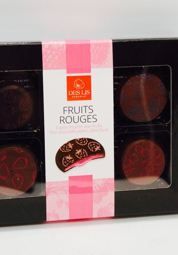 Thin chocolate palets filled with red fruits 70g