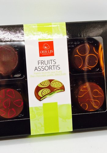 Thin chocolate palets with filled fruits 70g