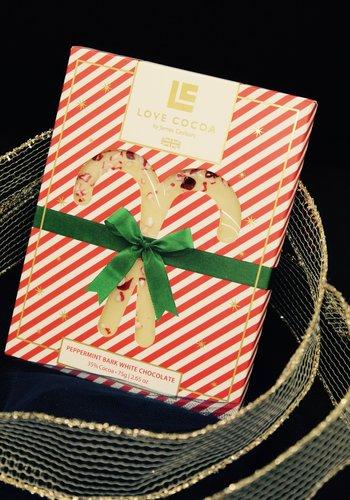 Love Cocoa-Chocolat blanc et écorces de menthe poivrée 75g