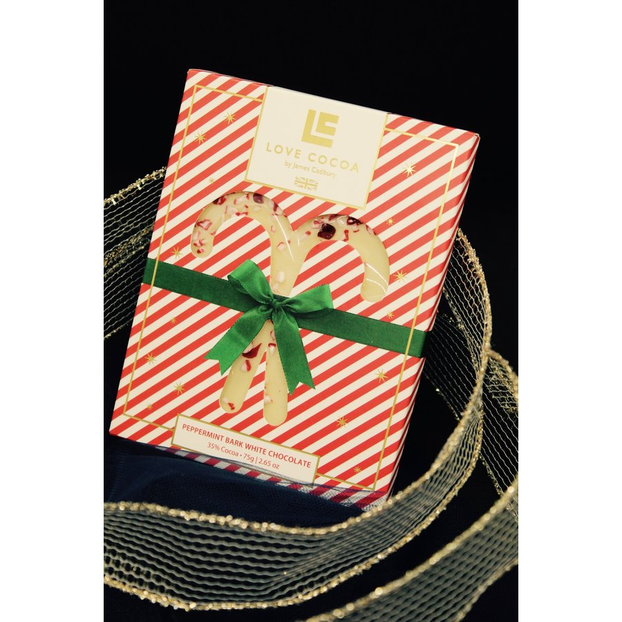 White chocolate with Peppermint canes 75g