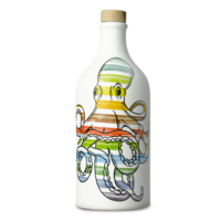 Huile d'olive extra vierge bouteille  céramique  calmar Muraglia 500 ml