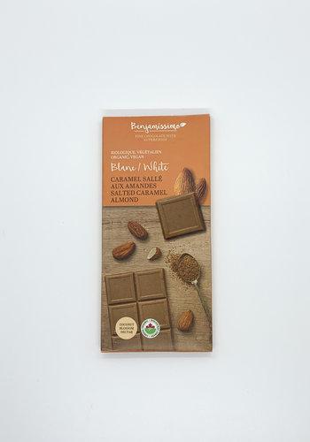 Benjamissimo Tablette chocolat blanc au caramelsalé aux amandes70g