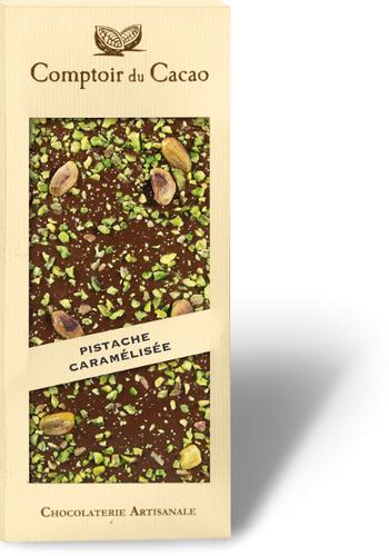 Barre gourmande  chocolat au lait pistache caramélisée  90g