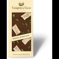 Barre gourmande chocolat noir au nougat et pistache   90g