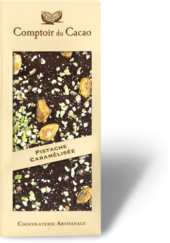 Caramelized pistachio black chocolate gourmet bar  90g
