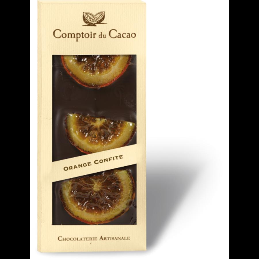 Barre gourmande noir orange confite| Comptoir du Cacao | 90g