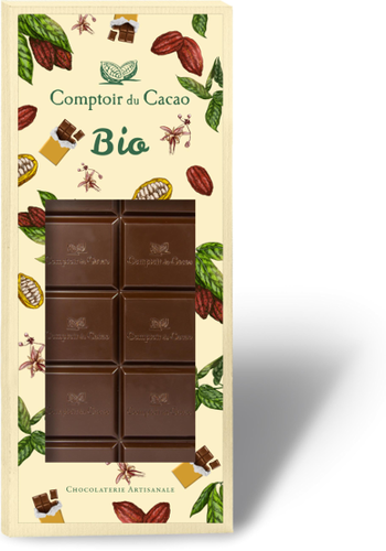 Collection barre BIO chocolat noir 72% plain  90g