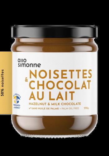 Noisettes, chocolat au lait 58% 220g | ALLO SIMONNE