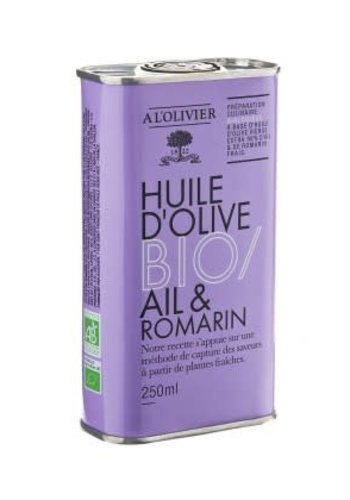 À L'Olivier - Huile d'Olive Biologique - Ail & Romarin - 250 ml