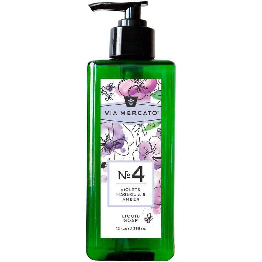 Via Mercato - Savon liquide pour les mains (4) - Violet, Magnolia et Ambre - 355 ml