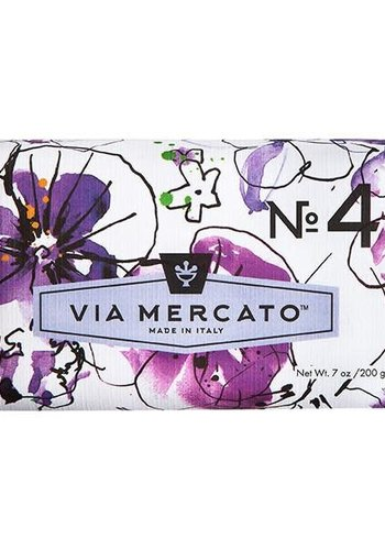 Via Mercato - Savon en barre (4) - Violets, Magnolia & Amber - 200g