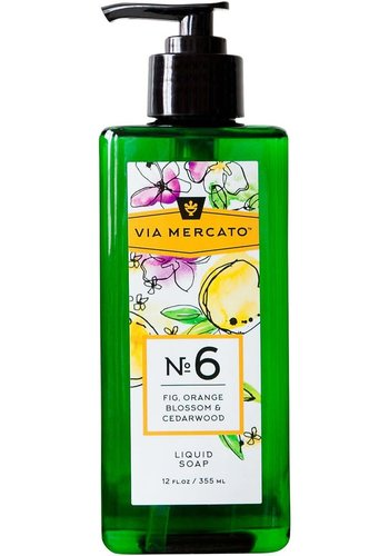 Via Mercato - Savon liquide pour les mains (6) - Figues, fleur d'oranger et bois de cèdre - 355 ml