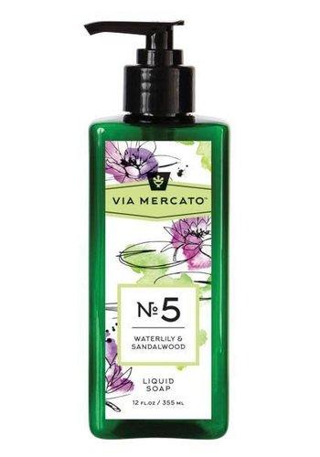 Via Mercato - Savon liquide pour les mains (5) - Nénuphar et bois de santal - 355 ml