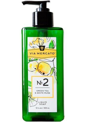 Via Mercato - Savon pour les mains (2) - Thé vert et musc blanc - 355 ml