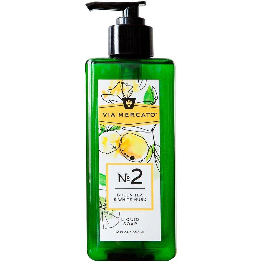 Via Mercato - Savon liquide pour les mains (2) - Thé vert et musc blanc - 355 ml