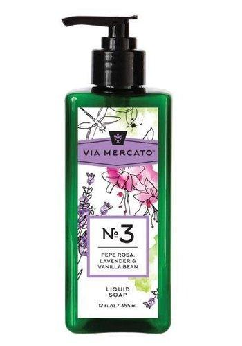 Via Mercato - Savon liquide pour les mains (3) - Pepe Rose, Lavande & Vanille - 355 ml