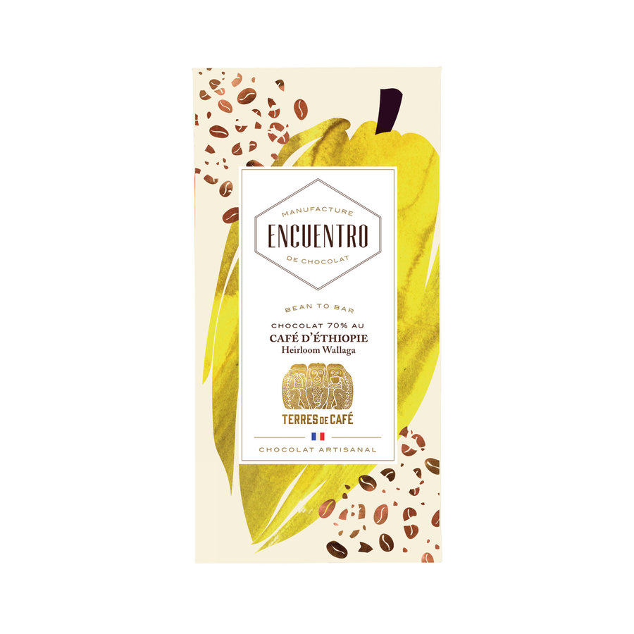 Barre biologique de chocolat noir 70% Guatemala Café D'Éthiopie 75g   ENCUENTRO
