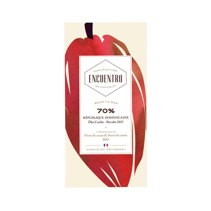 Barre biologique de chocolat noir 70% République Dominicaine - ENCUENTRO - 75g