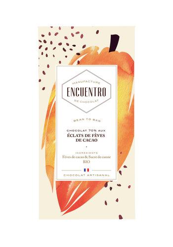 Barre biologique de chocolat noir 70% aux éclats de cacao Haiti - ENCUENTRO - 75g