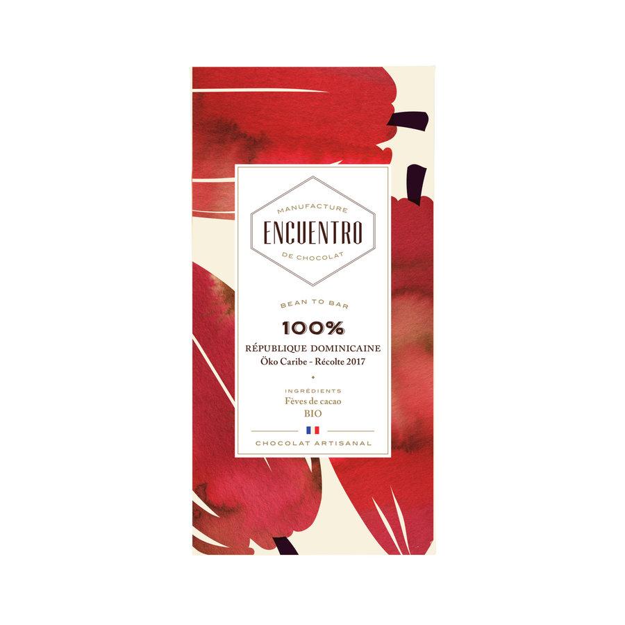 Barre biologique de chocolat noir 100% République Dominicaine - ENCUENTRO - 75g
