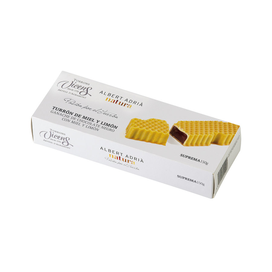 Nougat (Turron) miel et citron ganache de chocolat noir | Vicens |150g