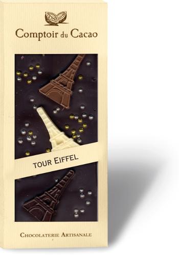 Barre gourmande Chocolat noir Tour Eiffel | Comptoir du Cacao | 90g