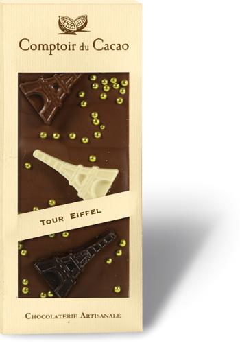 Barre gourmande Chocolat Lait Tour Eiffel | Comptoir du Cacao | 90g