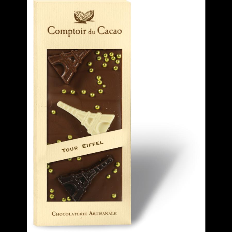 Barre gourmande lait tour Eiffel | Comptoir du Cacao | 90g