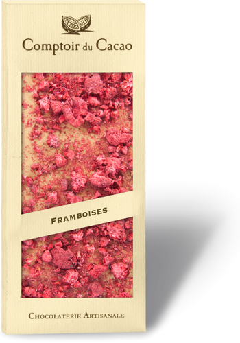 Barre gourmande Chocolat Blond Framboise | Comptoir du Cacao | 90g
