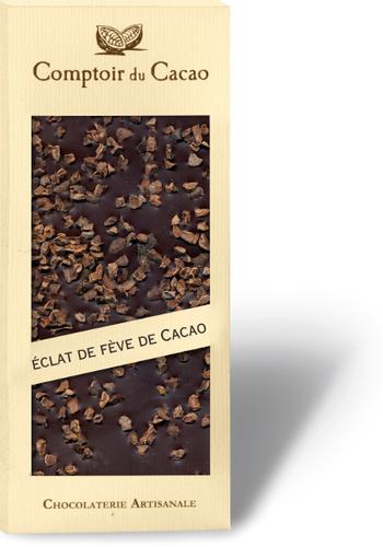 Barre gourmande Chocolat Noir & Fève de cacao | Comptoir du Cacao | 90g