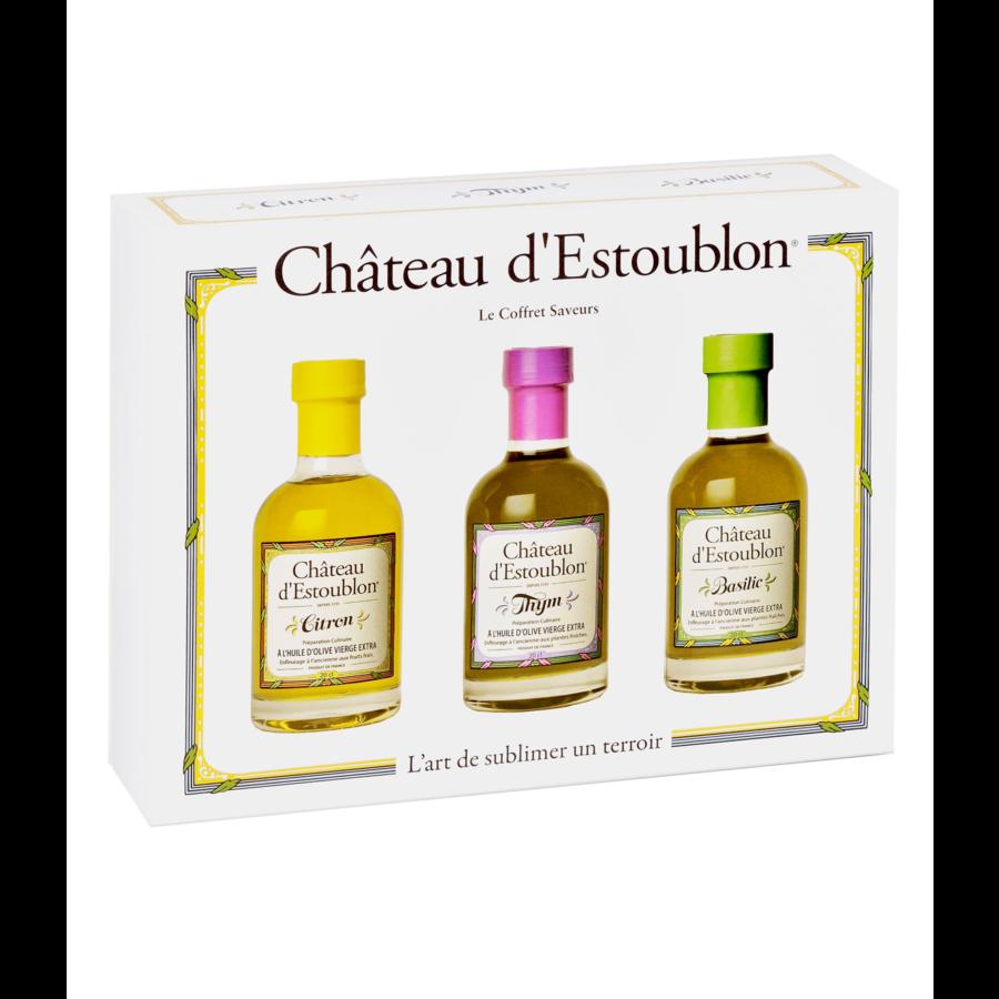 Le Coffret Saveurs | Huile d'olive Aromatisées Citron, Thym et Basilic | Château d'Estoublon | 3 x 20cl